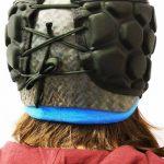 Protezione su misura trauma cranico per Luca - Casco in carbonio, protezione interna ed esterna